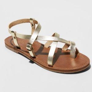 New women's toe wrap thong Sandal 11W Gold